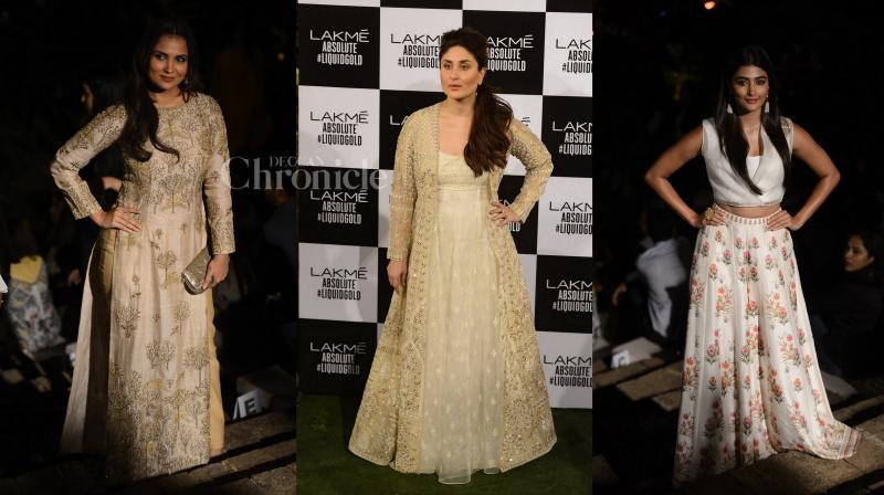 Trust Bollywood actresses to put their best foot forward when it comes to being fashionably correct and that's exactly what they did during the reputed Lakme Fashion Week's grand finale. (Photo: Viral Bhayani)