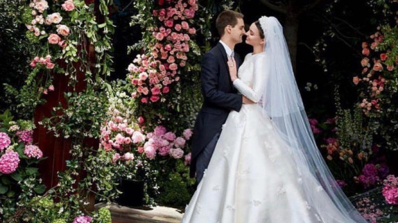 Miranda Kerr and Evan Spiegel on their wedding day. (Photo: Instagram / Miranda Kerr)