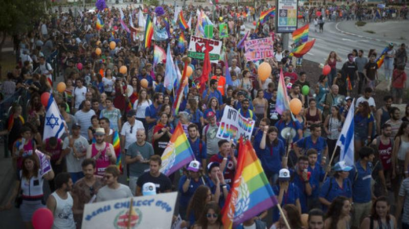 Around 3500 people marched for the first time in the Gay Pride Parade in Beersheba, Israel.