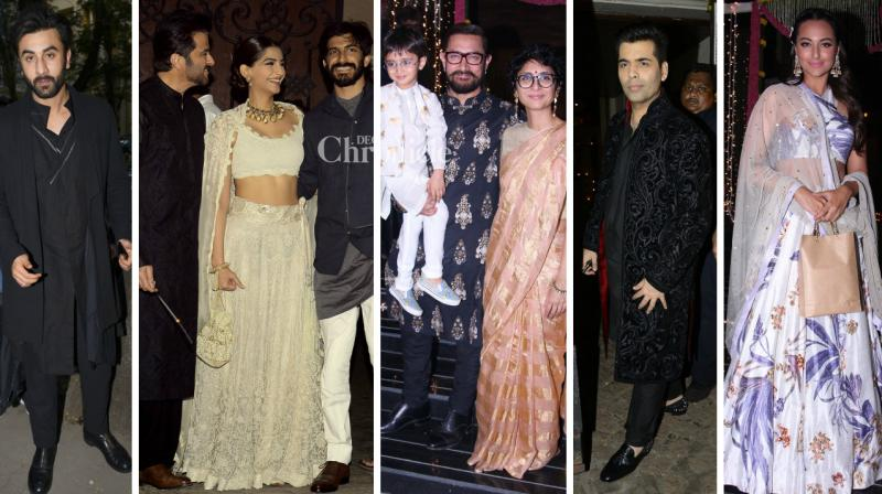 Several Bollywood celebrities came out in style for the Diwali parties hosted by Aamir Khan and Anil Kapoor on Sunday. (Photo