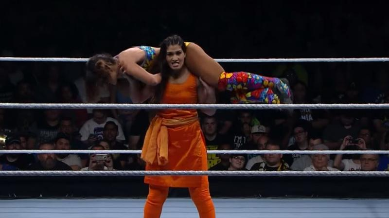 By the look of her stint at Mae Young Classic, a WWE women's event, the 2016 Asian Games power lifting gold medallist is destined for greatness.(Photo: Youtube/Screengrab)