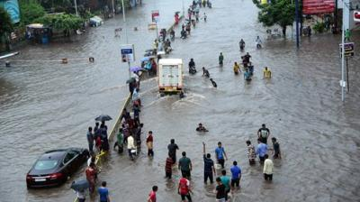 A view of a flooded street after heavy monsoon rains in Ahmedabad on Thursday.