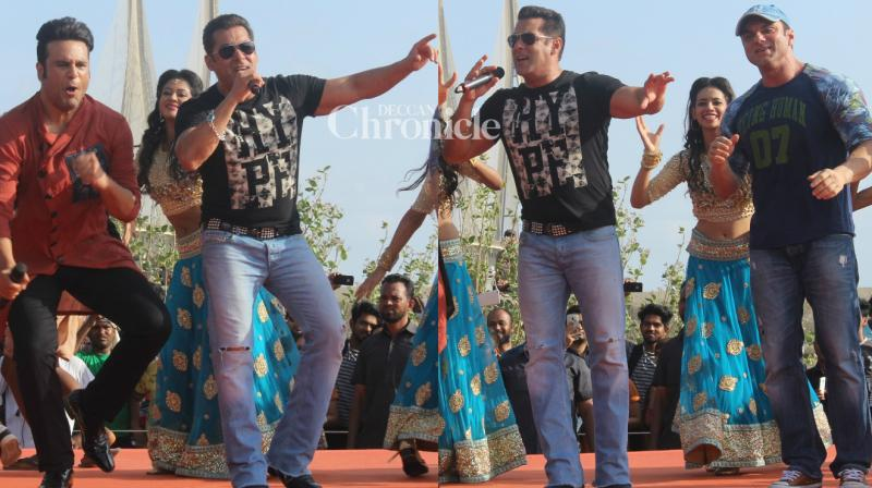 Salman Khan and Sohail Khan shot for an entertaining episode of the reality show 'India Banega Manch' in Mumbai on Saturday. (Photo: Viral Bhayani)