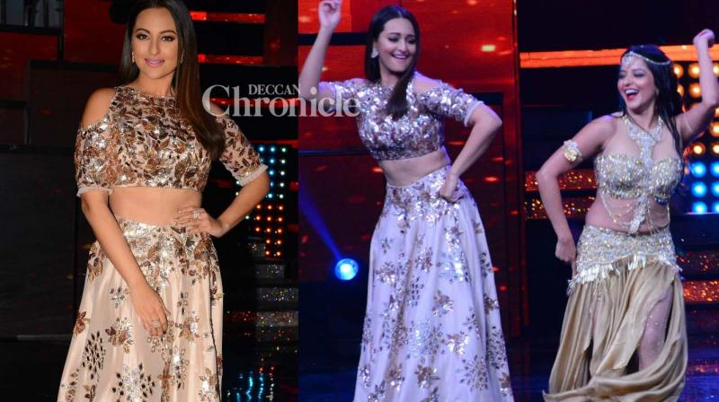 Sonakshi Sinha, who is one of the judges on the reality show 'Nach Baliye', was seen grooving with the contestants on the sets of the show on Friday. (Photo: Viral Bhayani)