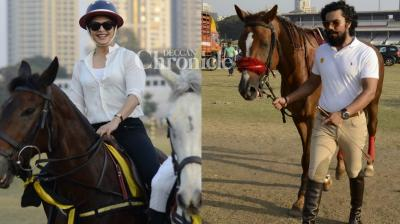 Jacqueline Fernandez and Randeep Hooda were spotted with their favourite horses at a racecourse in Mumbai on Friday. (Photo: Viral Bhayani)