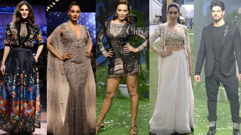 Bollywood stars walked the ramp at various shows of the Lakme Fashion Week on Friday. (Photo: Viral Bhayani)