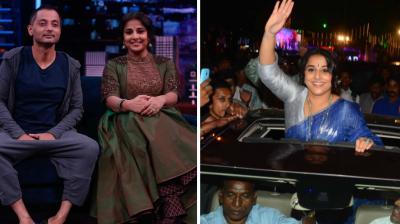 Vidya Balan promoted her upcoming film 'Kahaani 2: Durga Rani Singh' on the TV show 'Yaaron Ki Baraat' and later among the fans in Mumbai on Thursday.