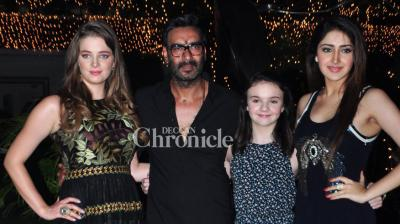 Ajay Devgn, Sayyeshaa, Erika Kaar, Abigail Eames held a screening of their film 'Shivaay' on Thursday night where several Bollywood celebrities were also present. (Photo: Viral Bhayani)