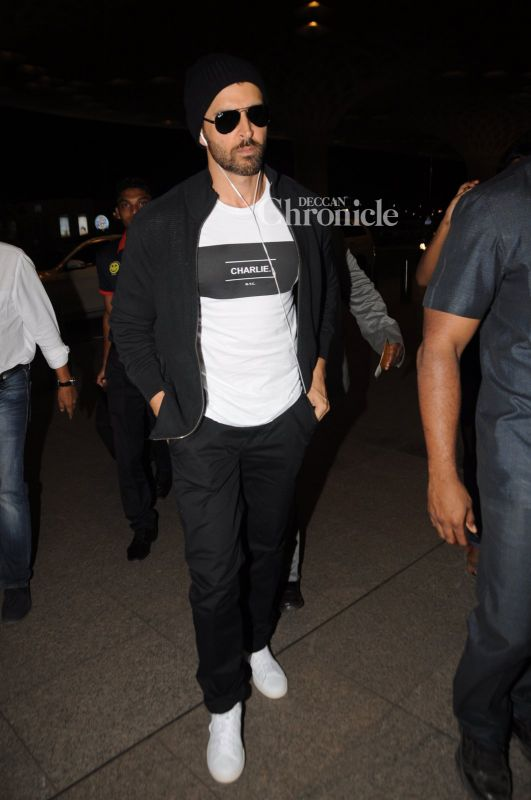 Hrithik Roshan was seen exiting the airport.