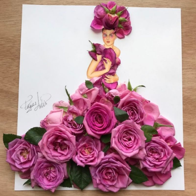 Dresses always better floral and this illustration made with roses is beyond this world.