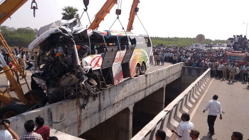 10 of the injured are critical, said a report. The bus, Diwakar Travels, was owned by Telugu Desam Party (TDP) MLA from Tadipatri JC Prabhakar Reddy.