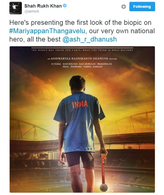 Up next, a biopic on Paralympian T Mariyappan - SRK releases first look