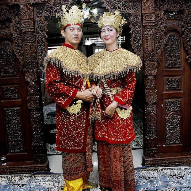 Wedding outfits in Indonesia usually have a lot of gold embellishments depending on your ethnicity.