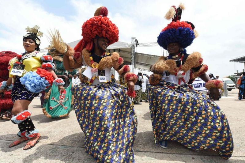 People from Calabar in southern Nigeria perform to a song in the month-long carnival in Lagos.