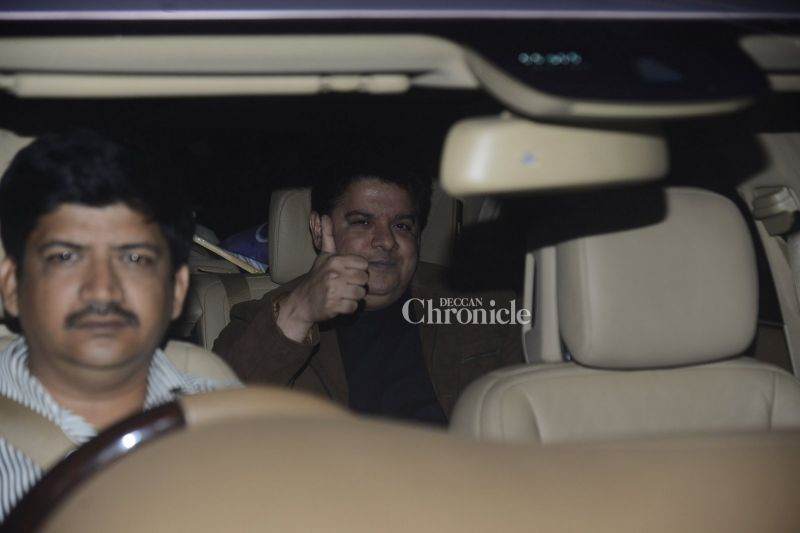 Sajid Khan shows camera persons the thumbs up.