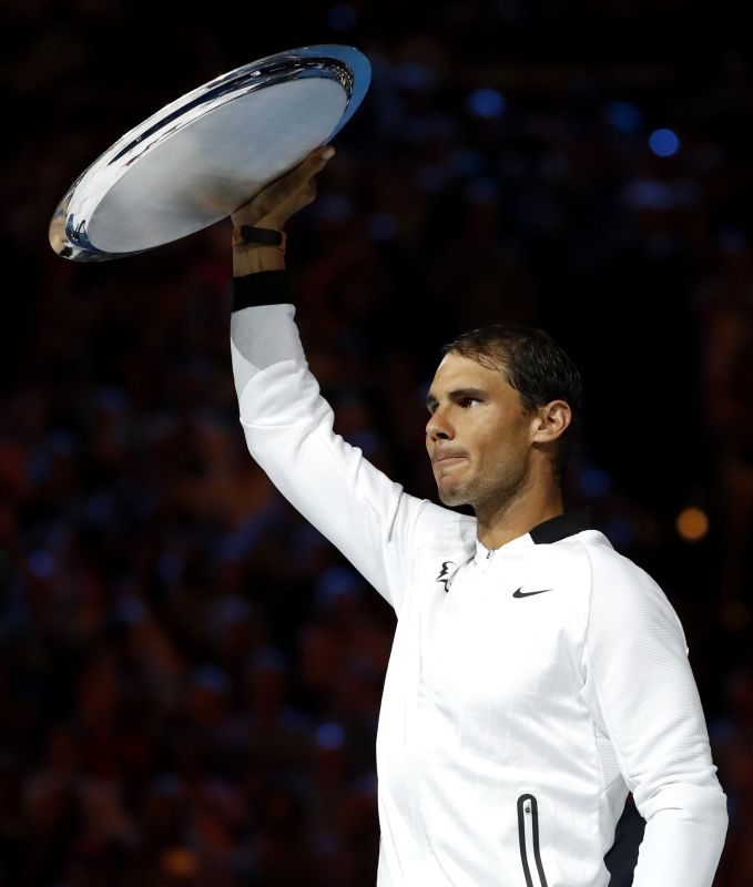 Dignified as ever in defeat, Rafael Nadal was the first one to congratulate Roger Federer. (Photo: AP)