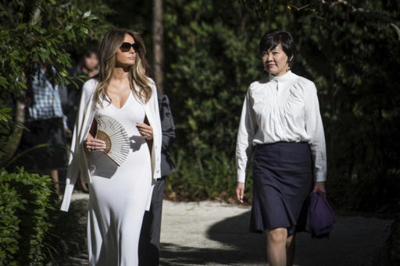 Melania Trump, and Akie Abe, wife of Japanese Prime Minister Shinzo Abe, take a tour of the Morikami Museum and Japanese Gardens in Florida.