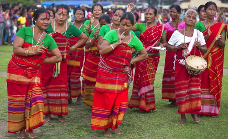 Tribal women perform Rabha dance during the Suwori Tribal festival in Assam.  (Photo: AP)