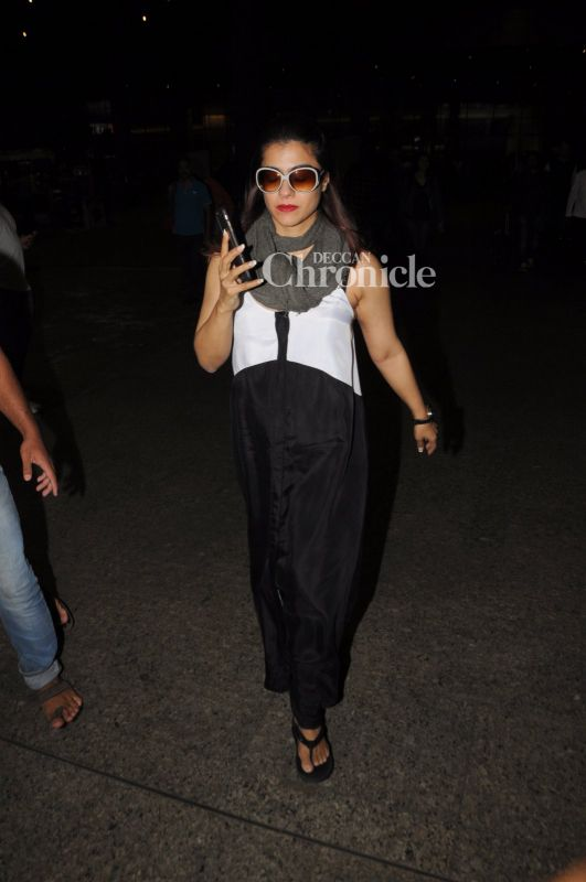 Kajol was also seen exiting the airport.
