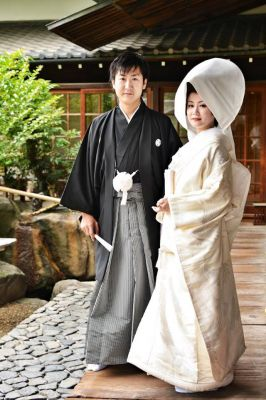 The kimonos for both the bride and groom in Japan.