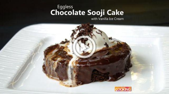 Eggless Chocolate Sooji Cake