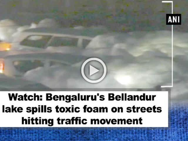 Watch: Bengaluru's Varthur lake spills toxic foam on streets hitting traffic movement