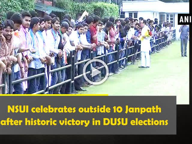 NSUI celebrates outside 10 Janpath after historic victory in DUSU elections